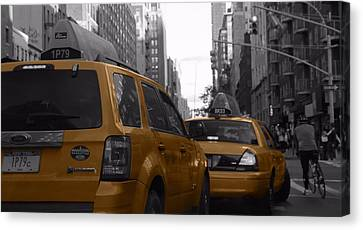 Taxis And Bikes In New York City Canvas Print by Dan Sproul