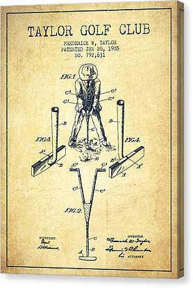 Taylor Golf Club Patent Drawing From 1905 - Vintage Canvas Print by Aged Pixel