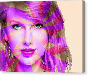 Taylor Swift Pink Horizontal Canvas Print by Tony Rubino