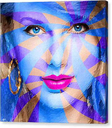 Taylor Swift Blue Square Canvas Print by Tony Rubino