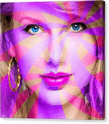 Taylor Swift Pink Square Canvas Print by Tony Rubino
