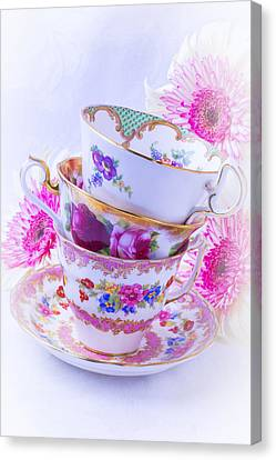 Tea Cups With Pink Mums Canvas Print by Garry Gay