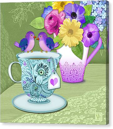 Tea For 2 Canvas Print by Valerie Drake Lesiak
