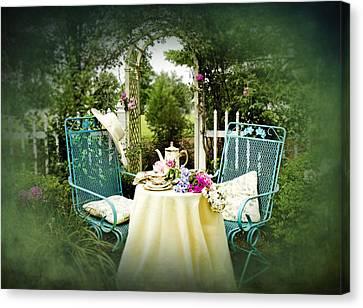 Tea In My Garden Canvas Print by Trudy Wilkerson