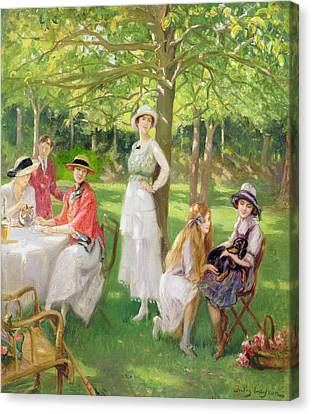 Tea In The Garden Canvas Print by Jules Cayron