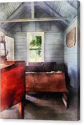 Teacher - One Room Schoolhouse With Hurricane Lamp Canvas Print by Susan Savad