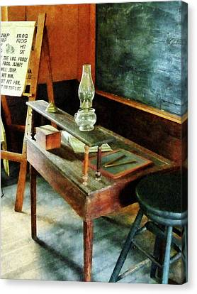 Teacher - Teacher's Desk With Hurricane Lamp Canvas Print by Susan Savad