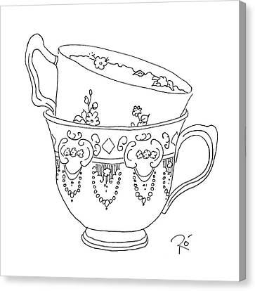 Teacup Love Canvas Print by Roisin O Farrell