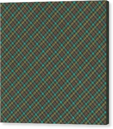 Teal And Green Diagonal Plaid Pattern Fabric Background Canvas Print by Keith Webber Jr