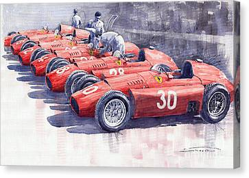 Team Lancia Ferrari D50 Type C 1956 Italian Gp Canvas Print by Yuriy  Shevchuk