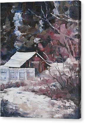Teanaway Barn In Winter Canvas Print by Lori Pittenger