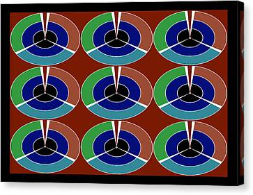 Techno Movement Disc Display Pattern Round Circles Layers 3d Graphic Digital Art Collage By Navinjos Canvas Print by Navin Joshi