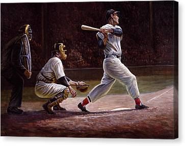 Ted Williams At Bat Canvas Print by Gregory Perillo