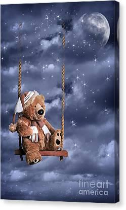 Teddy Bear In Night Sky Canvas Print by Amanda And Christopher Elwell