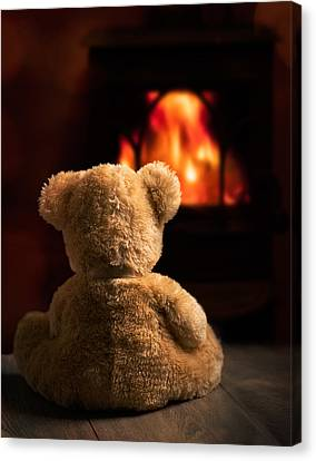 Teddy By The Fire Canvas Print by Amanda Elwell