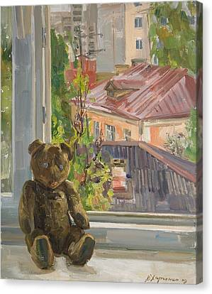 Teddy With Blue Eyes Canvas Print by Victoria Kharchenko