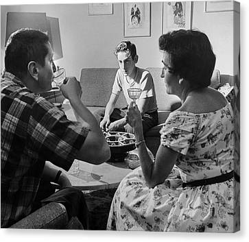 Teen Watches Parents Drink Canvas Print by Underwood Archives