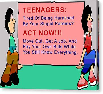 Teenagers Act Now Canvas Print by Barbara Snyder