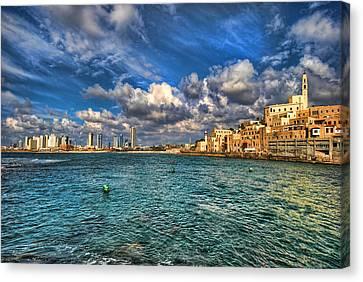 Tel Aviv Jaffa Shoreline Canvas Print by Ron Shoshani