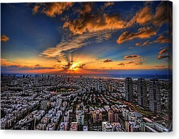 Tel Aviv Sunset Time Canvas Print by Ron Shoshani