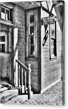 Telegraph And Cable Office Bw Canvas Print by Mel Steinhauer