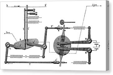 Telegraph Tape Transmitter Canvas Print by Science Photo Library