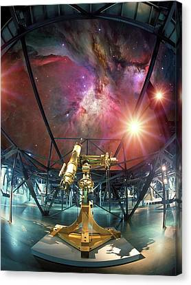 Telescope And Orion Nebula Canvas Print by Detlev Van Ravenswaay