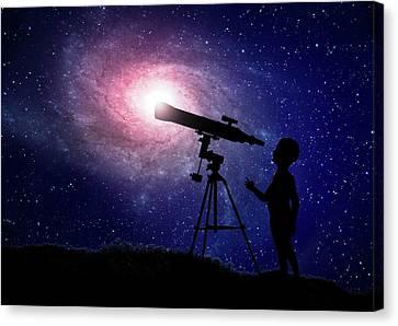 Telescope At Night Canvas Print by Andrzej Wojcicki