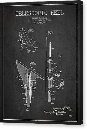 Telescopic Heel Patent From 1960 - Dark Canvas Print by Aged Pixel