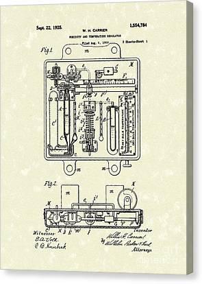 Temperature Regulator 1925 Patent Art Canvas Print by Prior Art Design