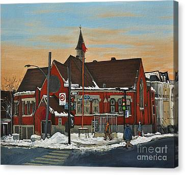 Temple Gurudwara Sahib  Pointe St Charles Canvas Print by Reb Frost
