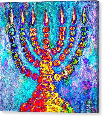 Temple Menorah Canvas Print by Music of the Heart