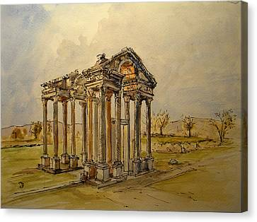 Temple Of Aphrodite Canvas Print by Juan  Bosco