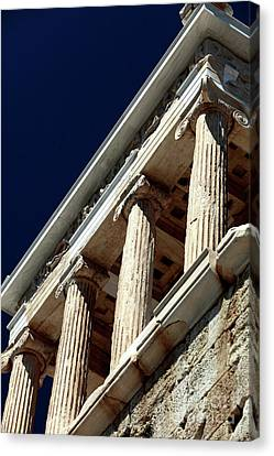 Temple Of Athena Nike Columns Canvas Print by John Rizzuto
