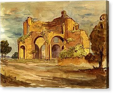 Temple Of Minerva Rome Canvas Print by Juan  Bosco