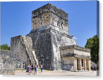 Temple Of The Jaguars At Chichen Itza Canvas Print by Mark E Tisdale