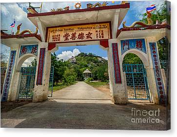Temple On The Hill Canvas Print by Adrian Evans