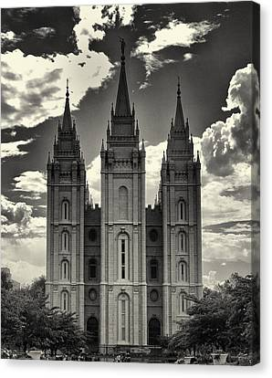 Temple Square Black And White Canvas Print by Joshua House