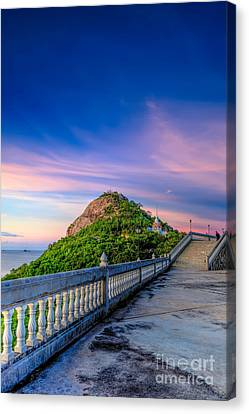 Temple Sunset Canvas Print by Adrian Evans