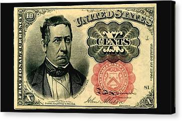 Ten Cents 5th Issue U.s. Fractional Currency Fr 1266 Canvas Print by Lanjee Chee