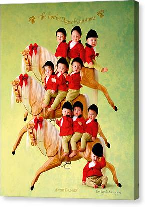 Ten Lords-a-leaping Canvas Print by Anne Geddes