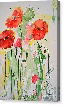 Tender Poppies - Flower Canvas Print by Ismeta Gruenwald