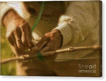 Tending The Vines Canvas Print by Alberta Brown Buller