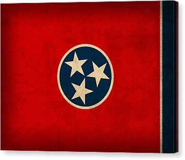 Tennessee State Flag Art On Worn Canvas Canvas Print by Design Turnpike