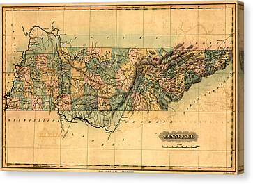 Tennessee Vintage Antique Map Canvas Print by World Art Prints And Designs