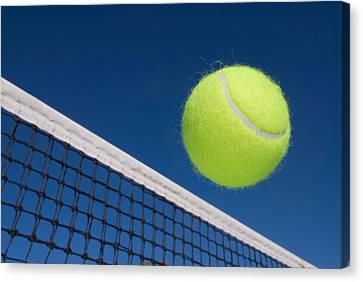 Tennis Ball And Net Canvas Print by Joe Belanger