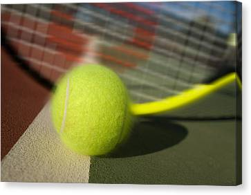 Tennis Ball And Racquet Canvas Print by Joe Belanger