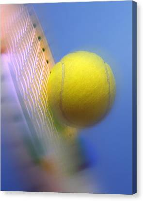 Tennis Ball And Racquet Canvas Print by Science Photo Library