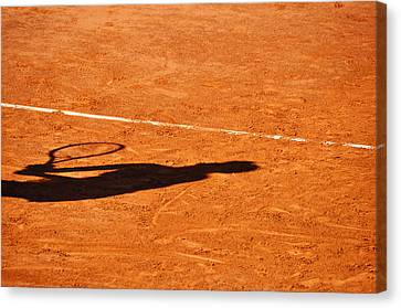 Tennis Player Shadow On A Clay Tennis Court Canvas Print by Dutourdumonde Photography