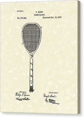 Tennis Racket 1887 Patent Art Canvas Print by Prior Art Design